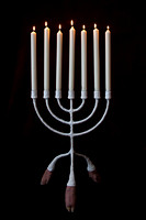 candelabra with lit candles-2